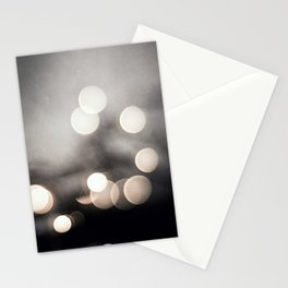Black and White Bokeh Lights Photography, Sparkle Light Art, Neutral Sparkly Photo Stationery Cards