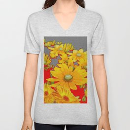 MODERN YELLOW FLOWERS GREY-RED ART Unisex V-Neck