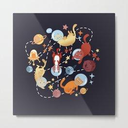 Catstronauts - retro catastronaut pattern Metal Print