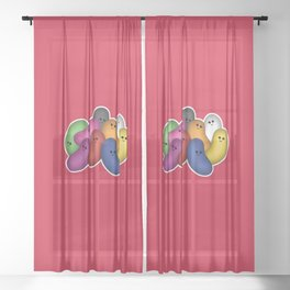 Happy Jelly Beans! (Red) Sheer Curtain