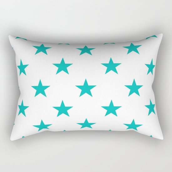 Stars (Tiffany Blue/White) Rectangular Pillow
