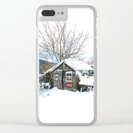 Rustic Shed Snowday Clear iPhone Case
