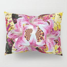 ABSTRACTED FUCHSIA-PINK LILY & HOLLYHOCKS GARDEN Pillow Sham