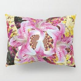 ABSTRACTED FUCHSIA-PINK LILY & HOLLYHOCKS GARDEN Pillow Sham