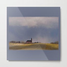 Distant Red Church on a Stormy Day Metal Print