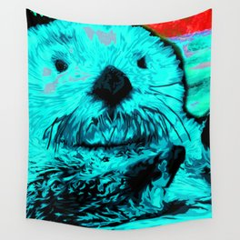 Sea Otter, mint green Wall Tapestry