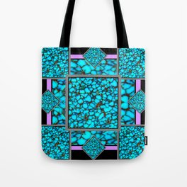 Western  Black-Purple Turquois Birthstone  Inlay Design Tote Bag