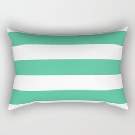 Ocean green - solid color - white stripes pattern Rectangular Pillow