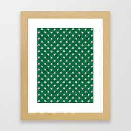 Cotton Candy Pink on Cadmium Green Stars Framed Art Print