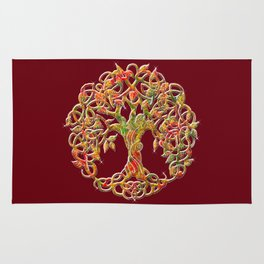 Tree of Life Maroon Rug