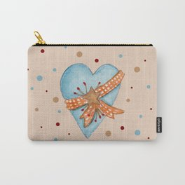 Country Heart And Polka Dots Watercolor Carry-All Pouch