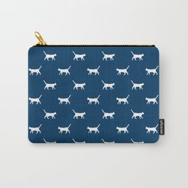 Cat silhouette cat lady cat lover navy and white minimal modern pet silhouette pattern Carry-All Pouch