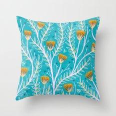 Tiny Moth Garden Pattern - Teal Throw Pillow