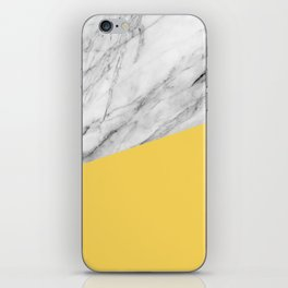 Marble and Primrose Yellow Color iPhone Skin