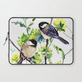 chickadees and Spring Blossom Laptop Sleeve