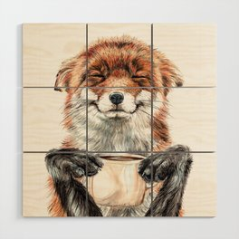 """"""" Morning fox """" Red fox with her morning coffee Wood Wall Art"""