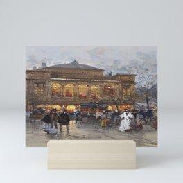 Theater du Chatelet, Paris Opera House, France portrait painting by Eugene Galian Laloue Mini Art Print
