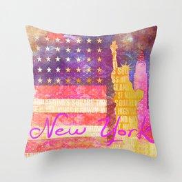 New York USA Statue of Liberty Throw Pillow