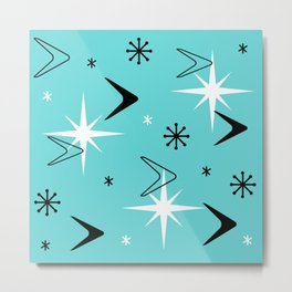 Vintage 1950s Boomerangs and Stars Turquoise Metal Print