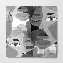 Abstract woman face with eyes in B&W illustration Metal Print