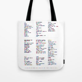 Radiohead Discography - Music in Colour Code Tote Bag