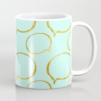 gold foil Mugs featuring Mint Gold Foil 01 by Aloke Design
