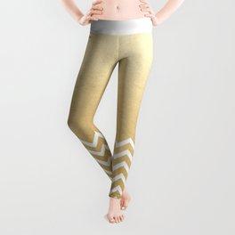 Gold Foil With White Chevron  Leggings