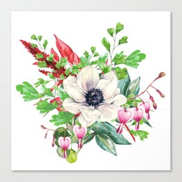 Gentille watercolor handpainted clipart, floral, flower, design, stylish, wedding, invitation Canvas Print