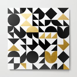 geometric black & gold Metal Print