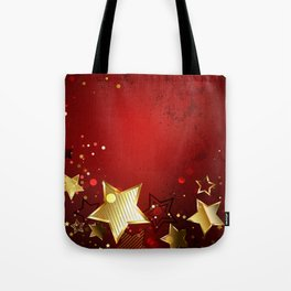 Red Background with Gold Stars Tote Bag