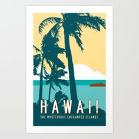 travel poster Art Prints featuring Hawaii Travel Poster by Michael Jon Watt