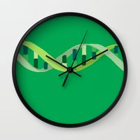 dna Wall Clocks featuring DNA by Emma J. Hardy