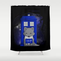 bad wolf Shower Curtains featuring Bad Wolf by Perdita