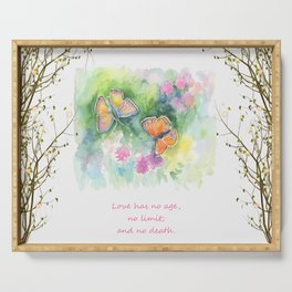 Butterflyes & Love quote Serving Tray