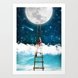 Reach for the Moon v2 Art Print