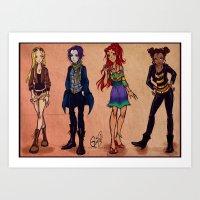 teen titans Art Prints featuring Titans fashion by Gretlusky