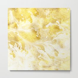 Golden Marble Abstract Metal Print