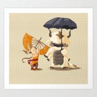appa Art Prints featuring Cross over Ghibli Appa  by Minette Wasserman