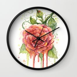 Red Rose Dripping Watercolor Flower Wall Clock