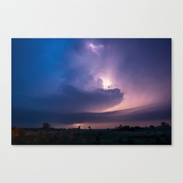 Lighthouse - Lightning Reveals Towering Storm Cloud After Dark in Oklahoma Canvas Print