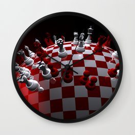chess fantasy red Wall Clock