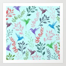Watercolor Floral & Birds III Art Print