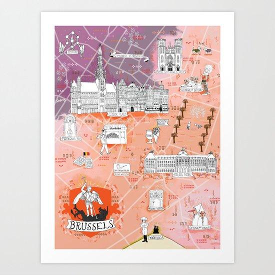 Illustrated Map of Brussels, Belgium Art Print
