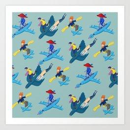 Running and flying Art Print