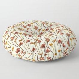 Flowers Pattern on Yellow Floor Pillow