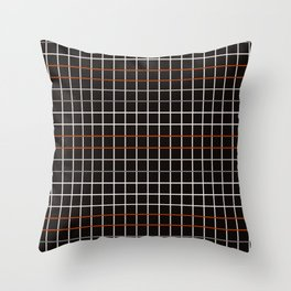 Minimalistic decorative grid in black, orange, white and grey Throw Pillow