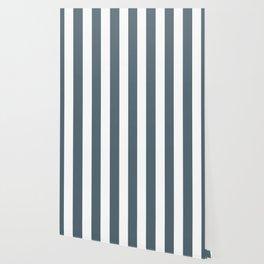 Cadet grey - solid color - white vertical lines pattern Wallpaper
