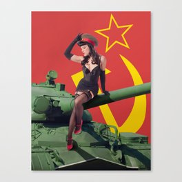 """""""Sovietsky by Land"""" - The Playful Pinup - Russian Tank Pin-up Girl by Maxwell H. Johnson Canvas Print"""