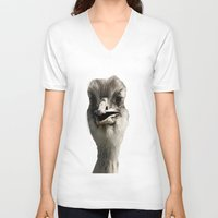 ostrich V-neck T-shirts featuring Ostrich by Raymond Earley