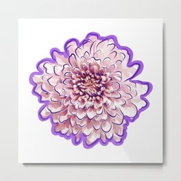 Pink and Purple Floral Illustration Metal Print